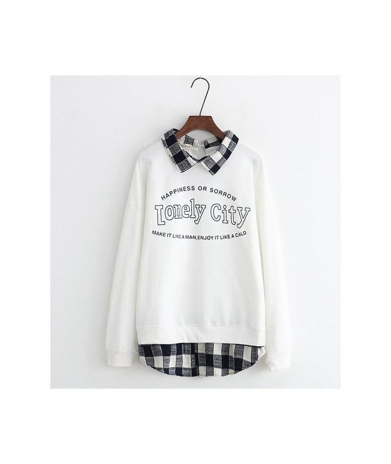 Women Plaid Patchwork Letter Print Hoodies Winter Long Sleeve Turndown Collar Sweatshirts For Femme Preppy Pullover - White ...