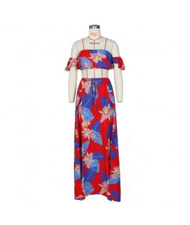 2019 Summer Two Piece Set Women Sexy Off Shoulder Ruffles Crop Top Skirts Floral Print 2 Piece Suits Floral Print Female Cas...