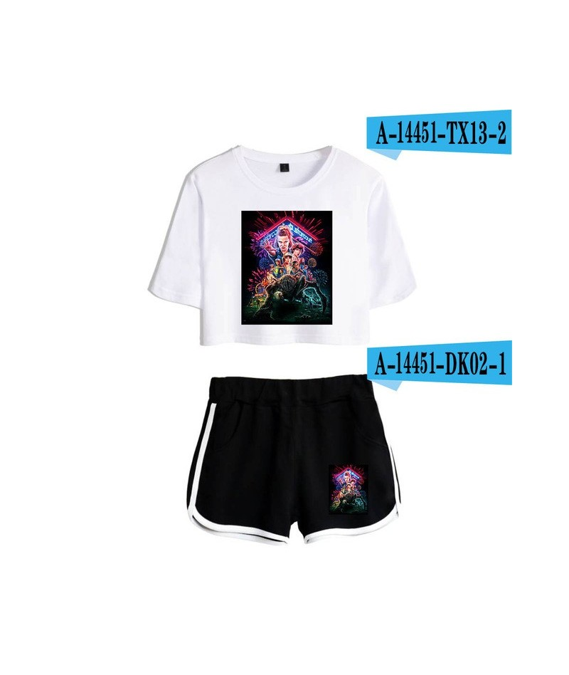 Stranger things Women 2 Piece Set Summer Cotton Short Sleeve t shirt+Shorts Streetwear Sexy Clothing Coats - picture color -...
