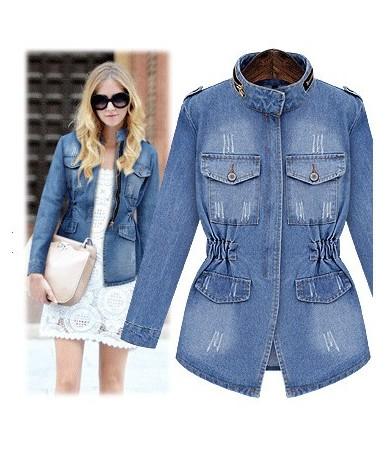 Women's Long Denim Coat 2018 Spring Fashion Female Zipper Jacket Slim Elastic Waist Solid Women's Coats Plus Size 5XL C82821...