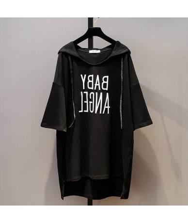 Summer New 2018 Letter Embroidered Large Size Loose Shirt Women's Short Sleeve Long Cotton Hoodies for Girl - Black - 4L3990...