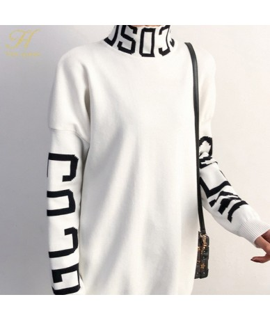 Autumn Winter Turtleneck Solid Women Sweater Knitted Full Sleeve Pullover Soft Femme Jumper High Quality - WHITE - 443022393...