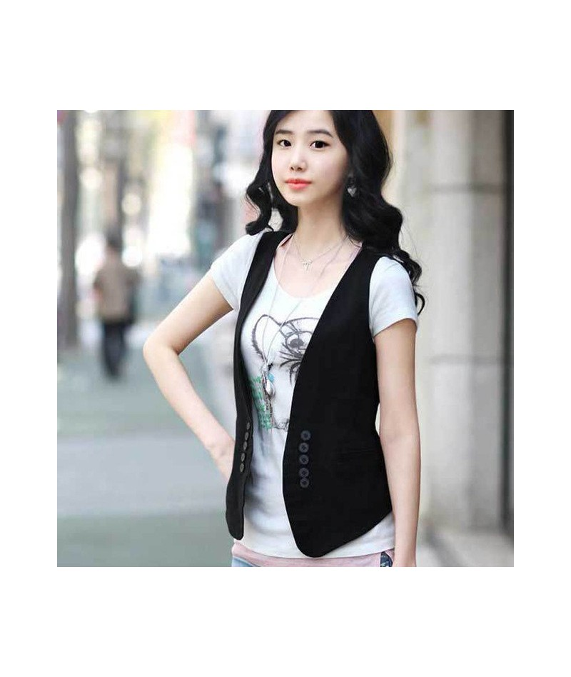 MS spring new Korean all-match slim suit vest vest / small vest vest size dress female - black - 473823055417-1