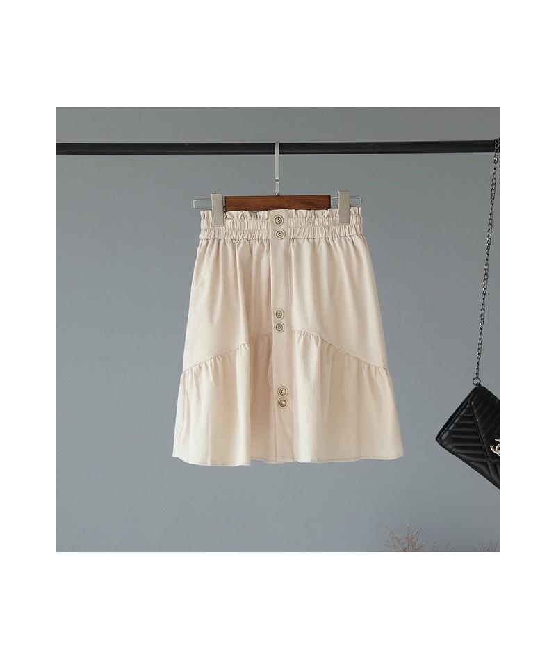 2019 Harajuku Women Skirt Plaid Pleated Skirts Mini Skirt Button High Waist A-line Skirts Girls Casual Skirts Saia Mujer - x...