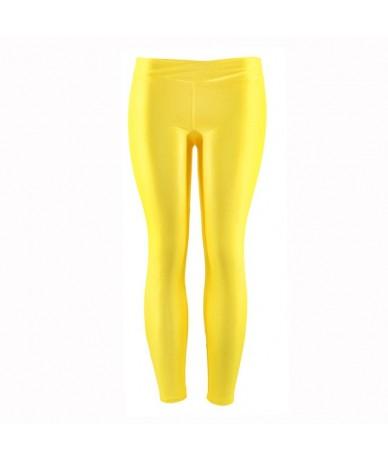 Fluorescent Color Women Workout Leggings V-Waist Multicolor Shiny Glossy Trousers Plus Size Female Elastic Casual Pants - YE...