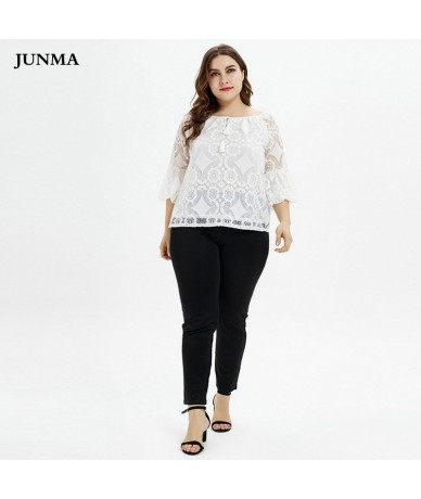 Woman knitted blouse puff sleeve top plus size loose lace women casual blouse designs xxxl - 4L4124923495
