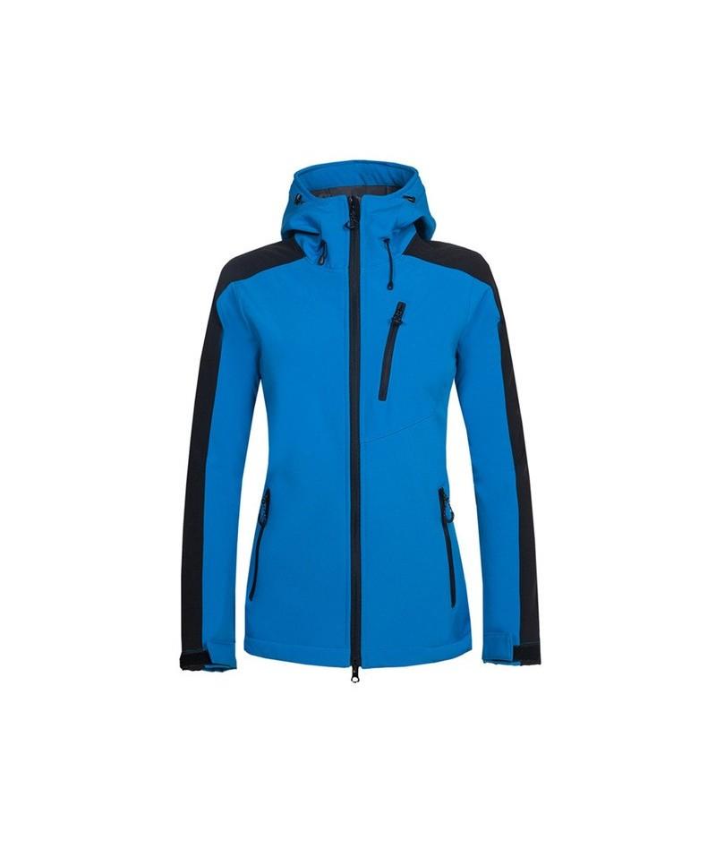 2018 Winter Women's Softshell Fleece Jackets Hooded Female Windbreakers Outwear Jogger Coats Women Brand Clothing - Blue - 4...