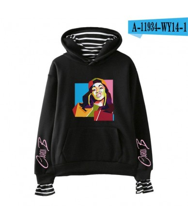 2019 Cardi B print Fashion Fake 2 Pieces Hoodies Sweatshirt comfortable Popular high Street cool casual hip hop Basic Hipste...