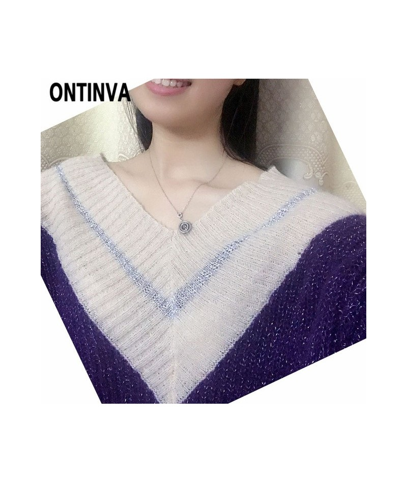 Oversized Loose Mohair Jumpers 2019 Fall and Winter Fashion Sexy V Neck Aesthetic Sweater Orange Green Purple Color Pullover...