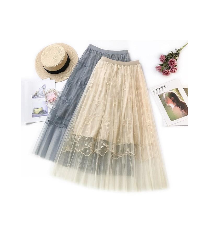 Embroidered Skirt 2019 New Style Fresh Dandelion Embroidered Skirt Women Elegant Pleated Skirt C876 - apricot - 4F4122277641-1
