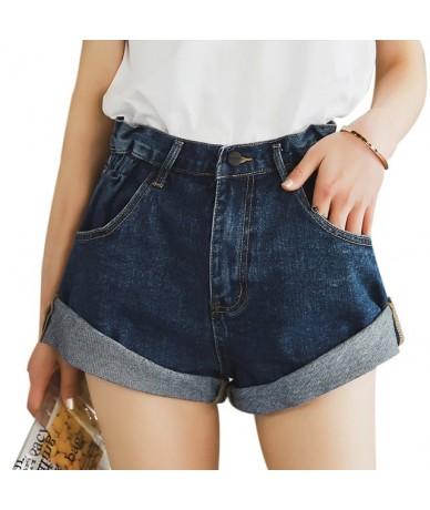 High Waist White Denim Shorts Women Short Femme Khaki Wide Leg Elastic Waist Vintage Jeans Shorts Loose Women Summer - dark ...