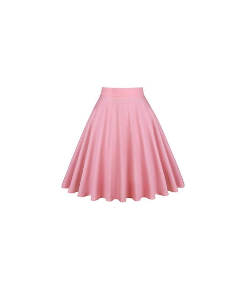 2019 Retro 50s Vintage Women Skirt High Waist Pleated Midi Skirt Women's Clothing Summer Audrey Hepburn Vintage Big Swing Sk...