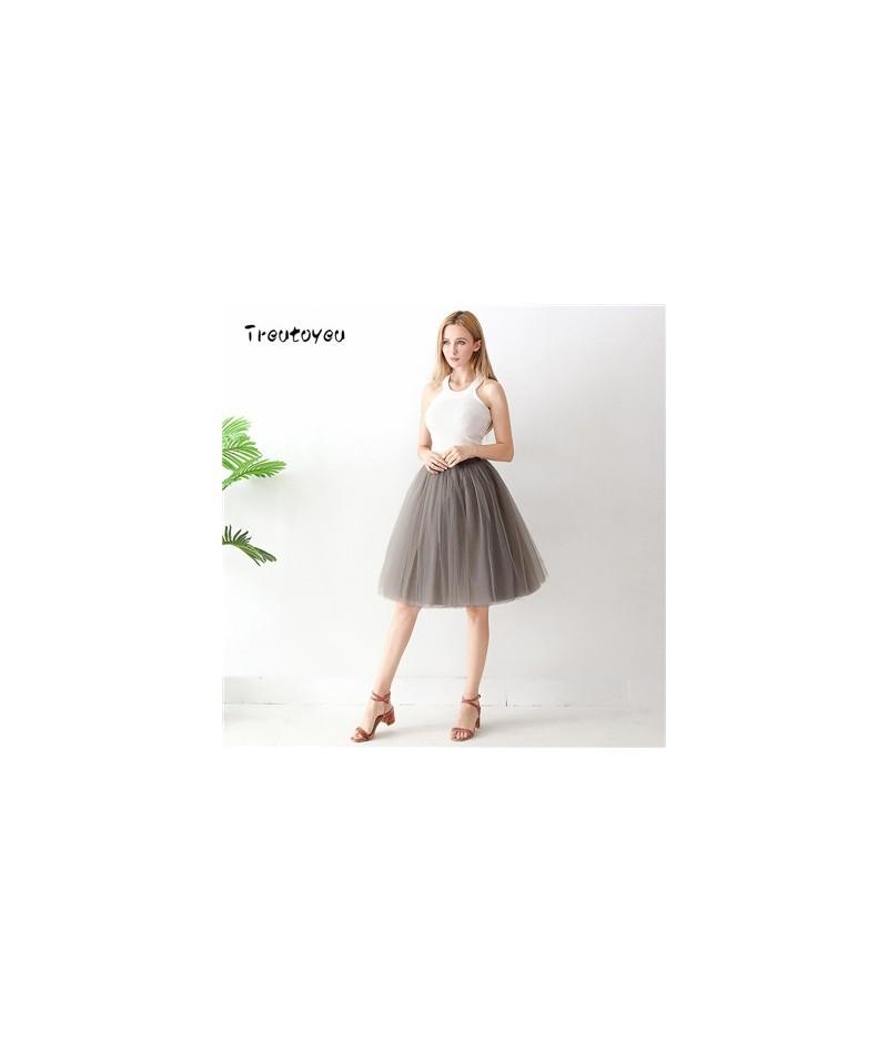 Quality 5 Layers 60cm Fashion Tulle Skirt Pleated TUTU Skirts Womens Lolita Petticoat Bridesmaids Midi Skirt Jupe Saias fald...
