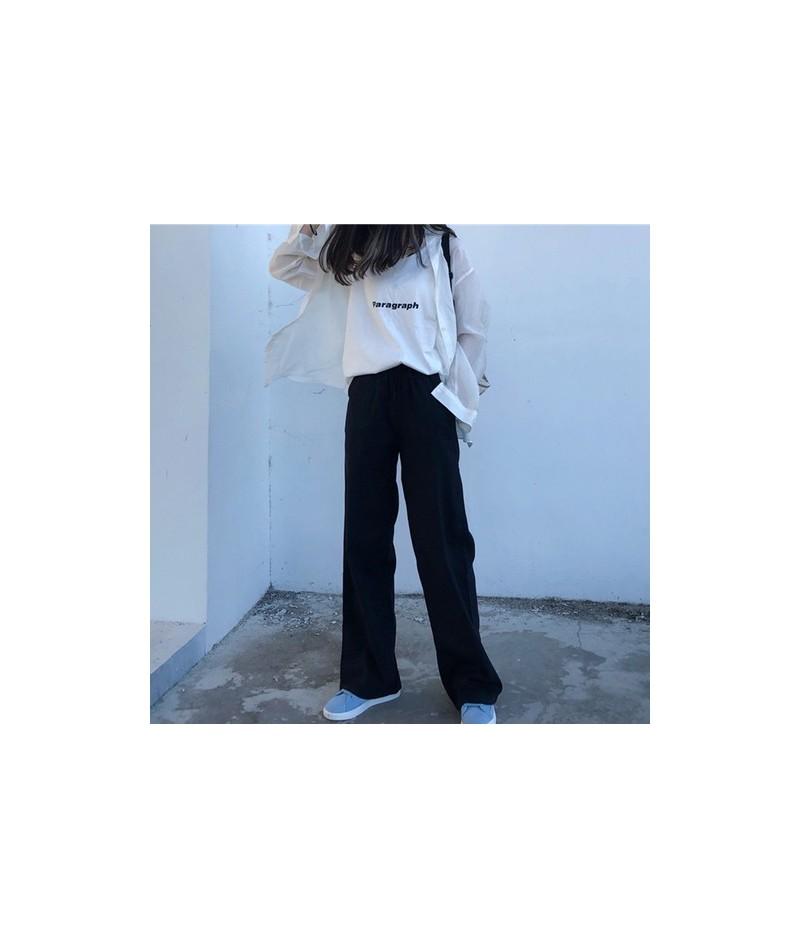 Pants Women Loose Solid Trendy Simple Elegant Retro Long Trousers High Waist Pockets Womens Korean Style Student Chic Leisur...