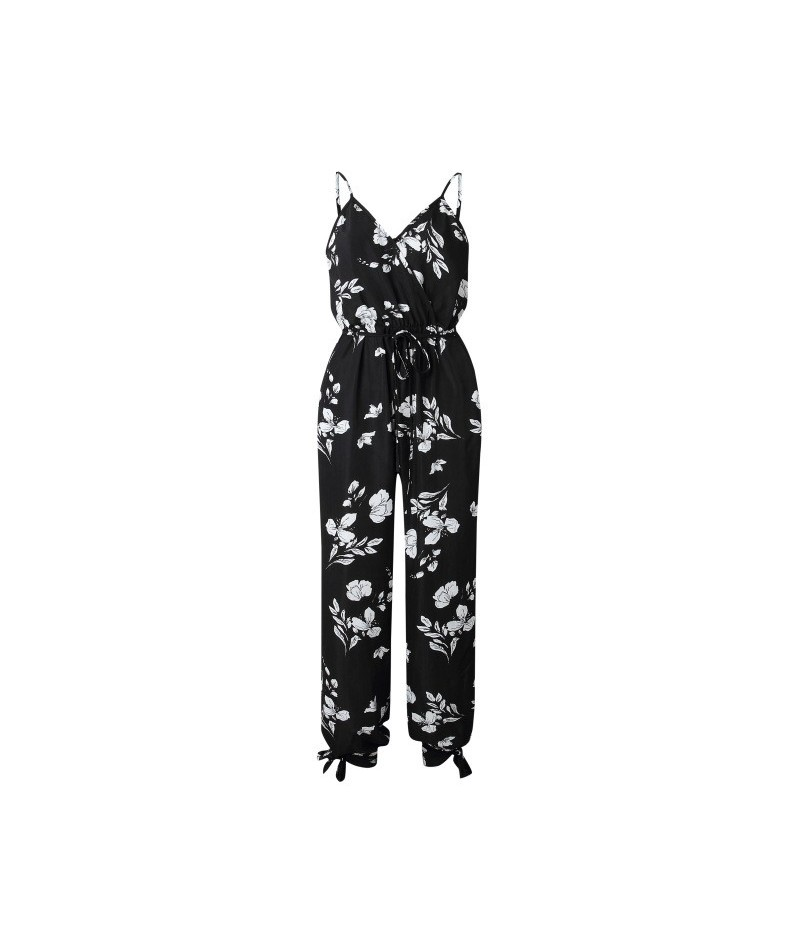 V Neck Sexy Bodysuits Women With Belt Body Femme Macacao Feminino Floral Playsuit Overalls Print Spring Summer Jumpsuit - Bl...