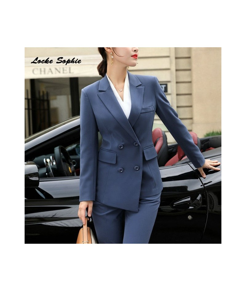 Women's Plus size Blazers coats 2019 Autumn cotton blend Double-breasted Suits jackets ladies Skinny office Blazers Suits co...
