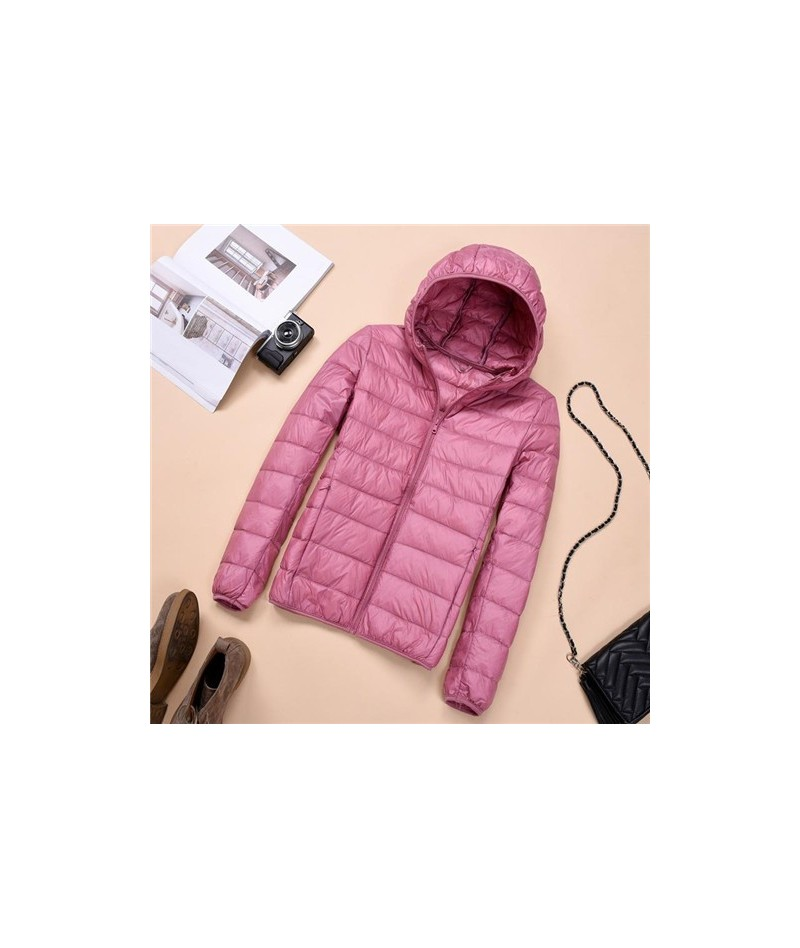 2019 Winter Jacket Women Ultra Light Down Jacket Women Hooded Coat 90% Duck Down Jacket Packable Thin Feather Short Parka D1...