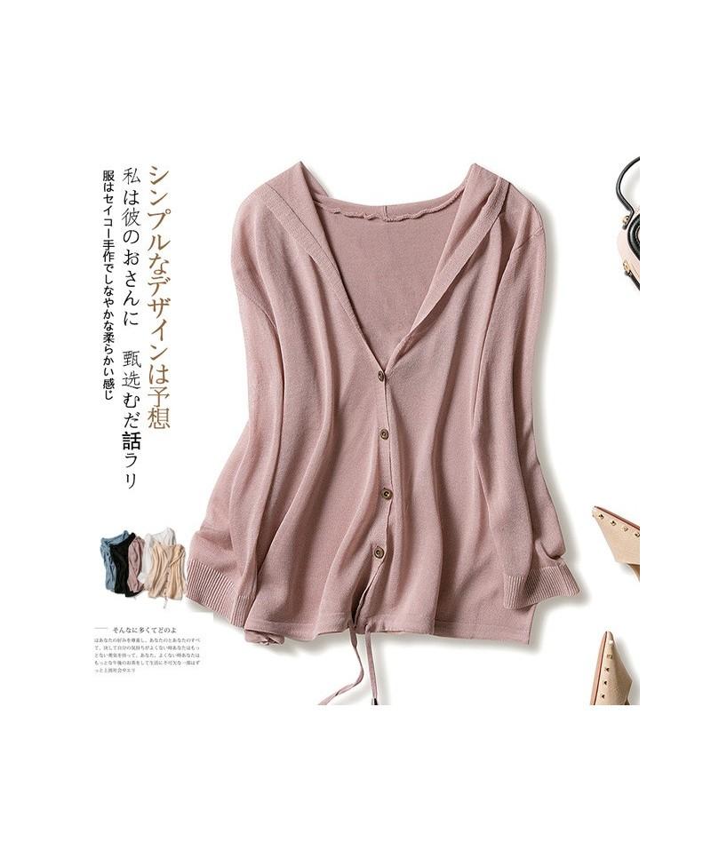Women Thin Linen Knit Hoody Womens Hooded Collar Sweatshirt Hoodies Summer Knitwear Sunscreen Air Conditioning Shirts - Pink...