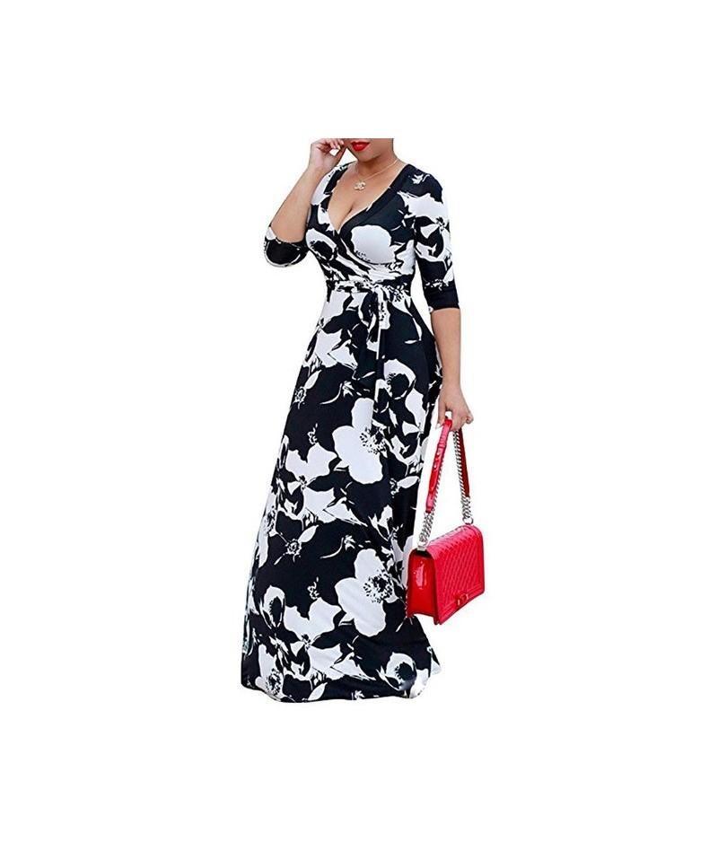 Plus size S-5XL Elegant Women Robe Summer Printed Maxi Dress Fashion Sexy Boho Dress Tighten Waist Long Dresses Vestidos A24...