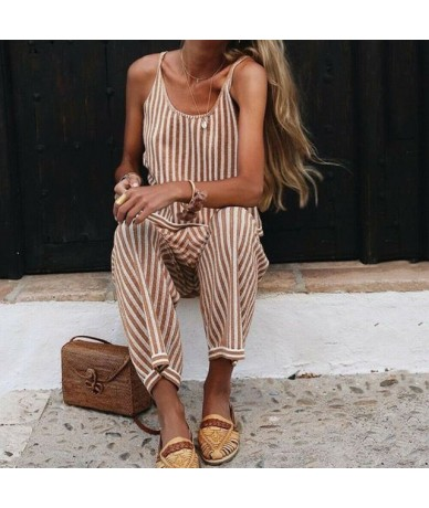 Striped Strappy Jumpsuit Women's Wide Leg Pants Sleeveless Romper Playsuit Summer Casual Beach Long Loose Trousers - Khaki -...