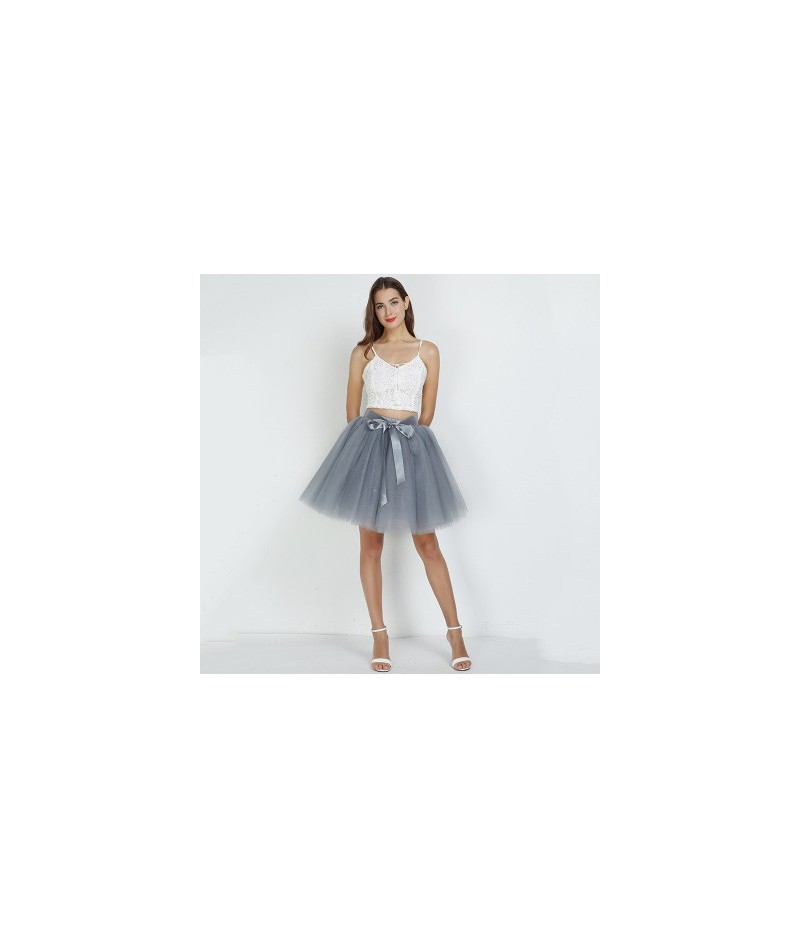 7Layered 50cm Tulle Skirts Womens 2Adult Tulle Skirt Elastic High Waist Pleated Midi Skirt 2019 Fashion Wedding Jupe - gray ...