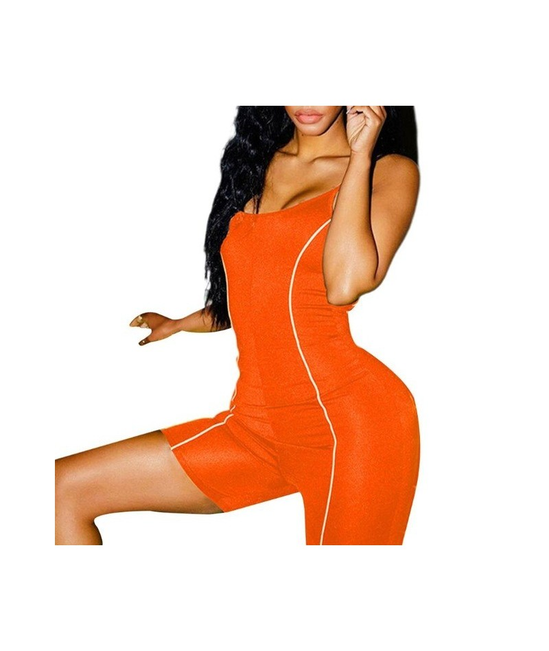 Women Summer Sleeveless Bodycon Shorts Jumpsuit Reflective Strip Sports Biker Playsuit Sexy Backless Neon Color Skinny Rompe...