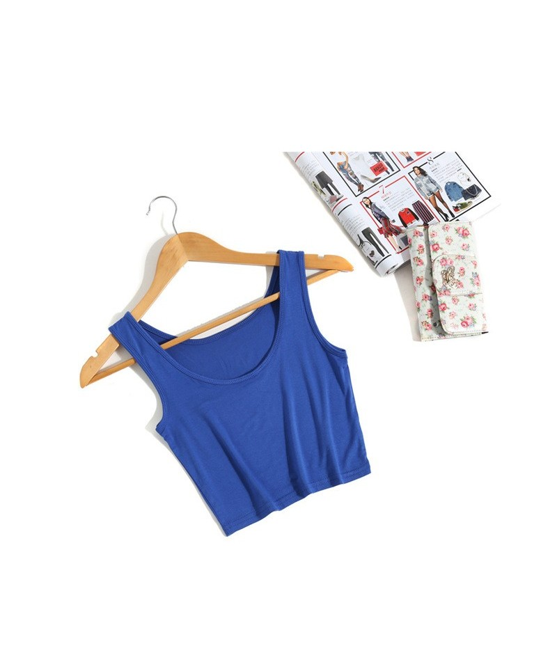 Fashion Summer Women Sleeveless U Croptops Tank Tops Slim Render Short Top Solid Black/White Crop Tops Vest Tube Top - Blue ...