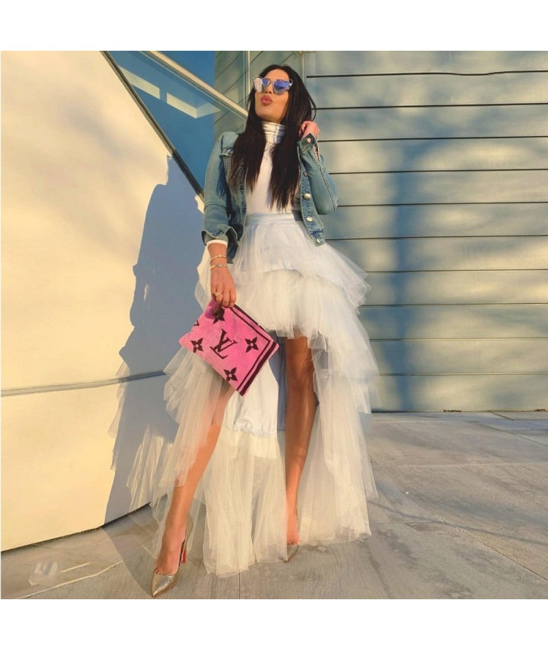 Hippie Style High Low Skirt Custom Made Fashion Tiered Tulle Skirts Women Chic Tutu Long Prom Skirt Zipper Waist Party Gowns...