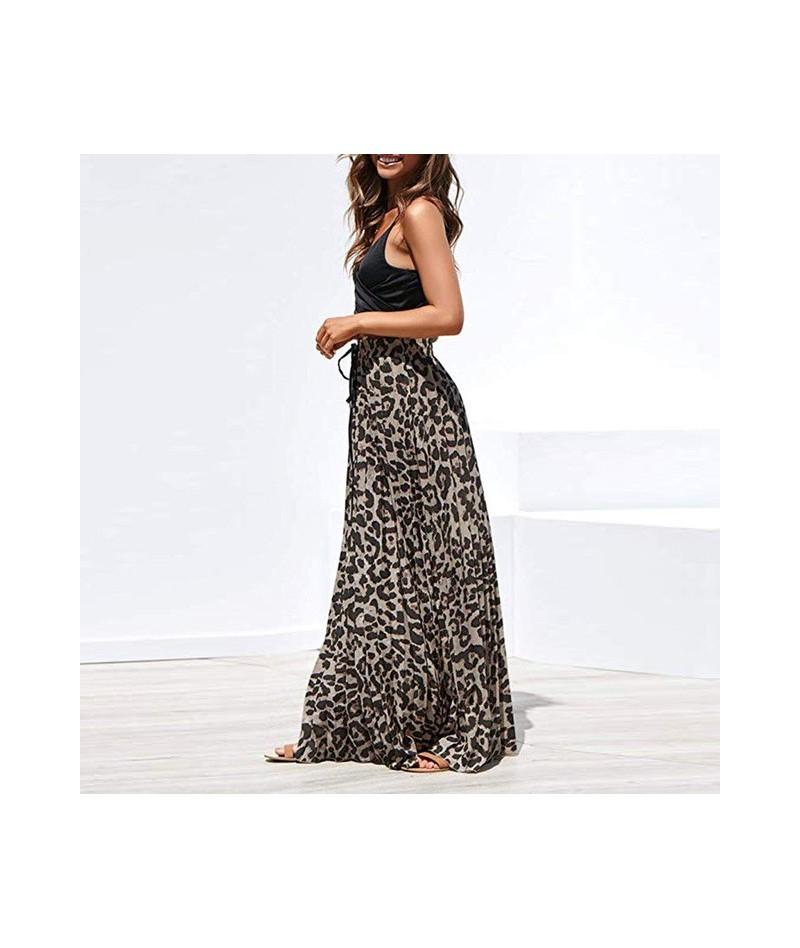summer skirts womens Casual high waist skirts Leopard Print Long Drawstring Pleated High Waisted Bohemian Maxi Skirt L0710 -...