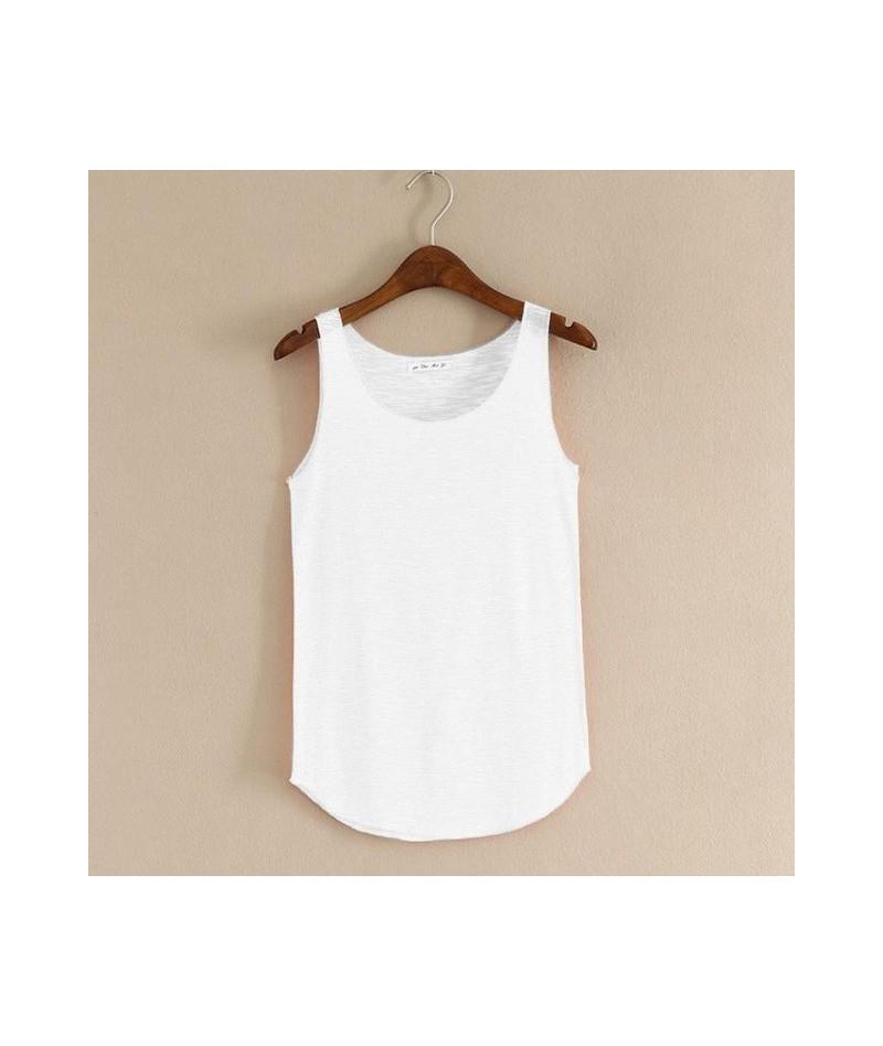 2019 Women's Summer Sleeveless Round Neck Tops Lose Shoulder Vest Slim Tees Solid Color Girls T-Shirt Large Size Hot Camiset...