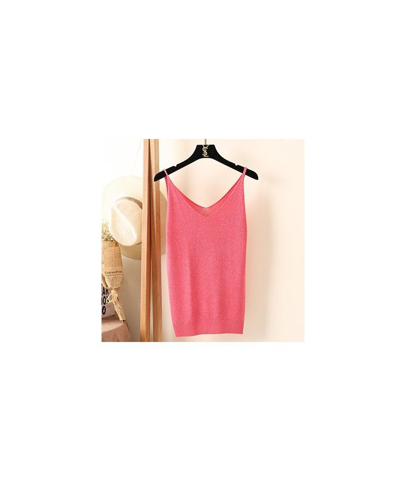 New 2018 Summer Vest Women flash silk sexy Slim Bottoming V-Neck knitting solid sling Sleeveless female Camis LX890 - rose r...