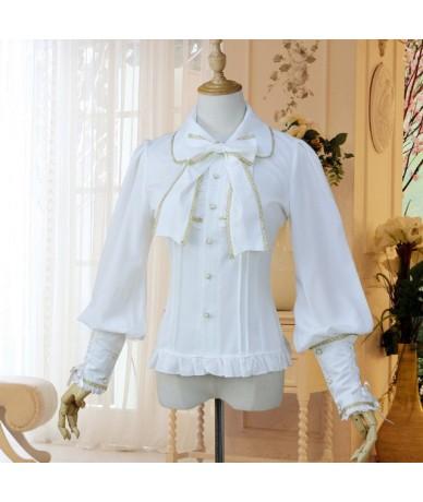 Lolita Shirt Long Sleeve Women Top Shirt Chiffon Elegant Female Gothic Blouse Summer Shirt - White Gold - 433007131536-2