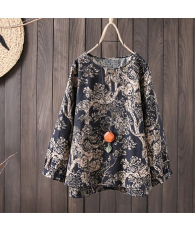 Tops For Women 5XL Cotton Linen Flower Print Casual Loose Summer Shirt 2019 High Quality Female Et Chemisier Plus Size - Bla...