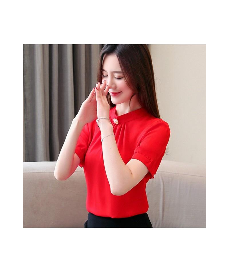 Fashion women blouses 2019 green chiffon blouse shirt short sleeve smmer women tops women shirts womens tops and blouses 301...