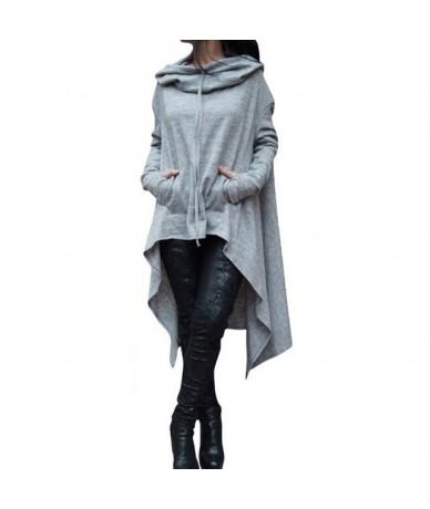 Plus Size 4XL 5XL Autumn Loose High Low Hoodies 2019 Long Sleeve Women Hooded Sweatshirt Pocket Front Pullovers - Light Grey...