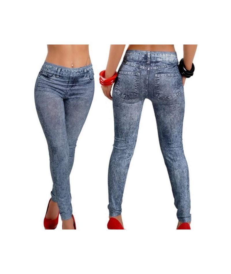 Fashion Women Casual Slim Legging Stretch Denim Leggings Jeggings Spring Autumn Denim Leggings Blue Pleated Slim All Match -...
