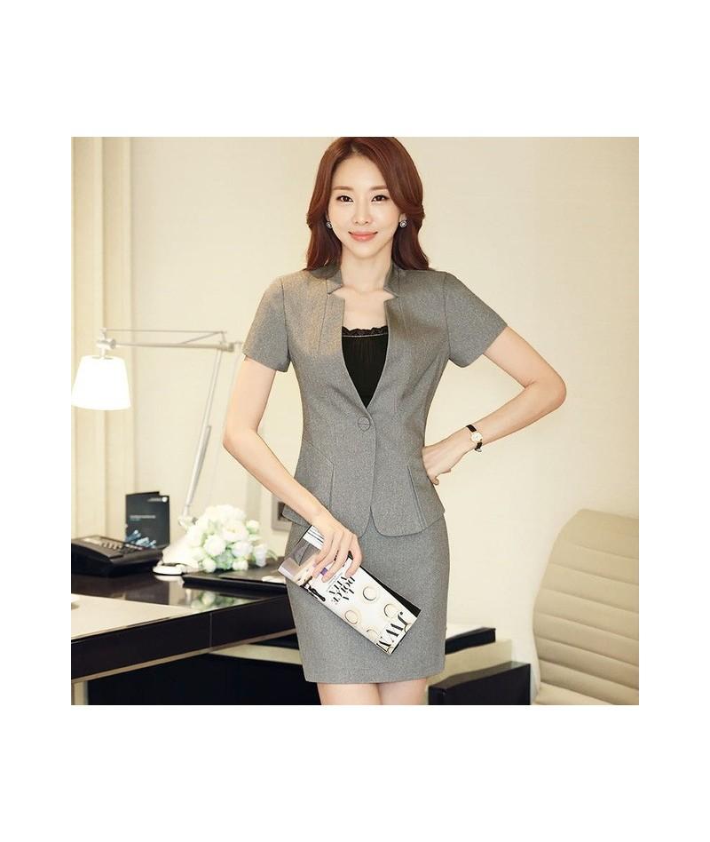 Fashion women's slim Skirt suit summer OL formal short-sleeve blazer with skirt female plus size Business Women's costumes -...