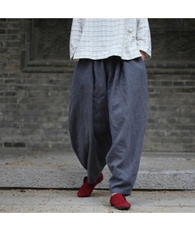 Women Harem Pants Elastic Waist 2019 Fall Winter New Plus Size Women Clothing Linen Vintage Trouser Loose Warm Pants - Gray ...