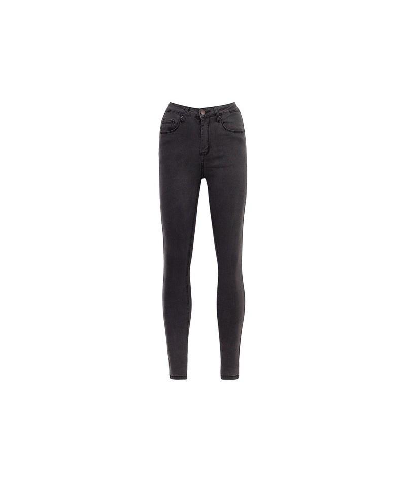 Basic Jeans Pencil Pants Vintage Slim Stretched Jeans Female Women Washed Blue Denim High Waist Skinny Jeans - Grey - 494120...