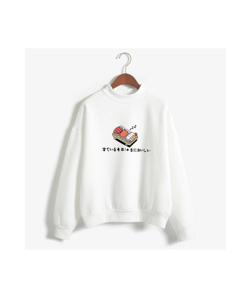 Women Hoodies 2019 Autumn Winter Sweatshirts Cartoon Kawaii Sushi Japanese Print Fleece Loose Moletom Feminino Harajuku Pull...
