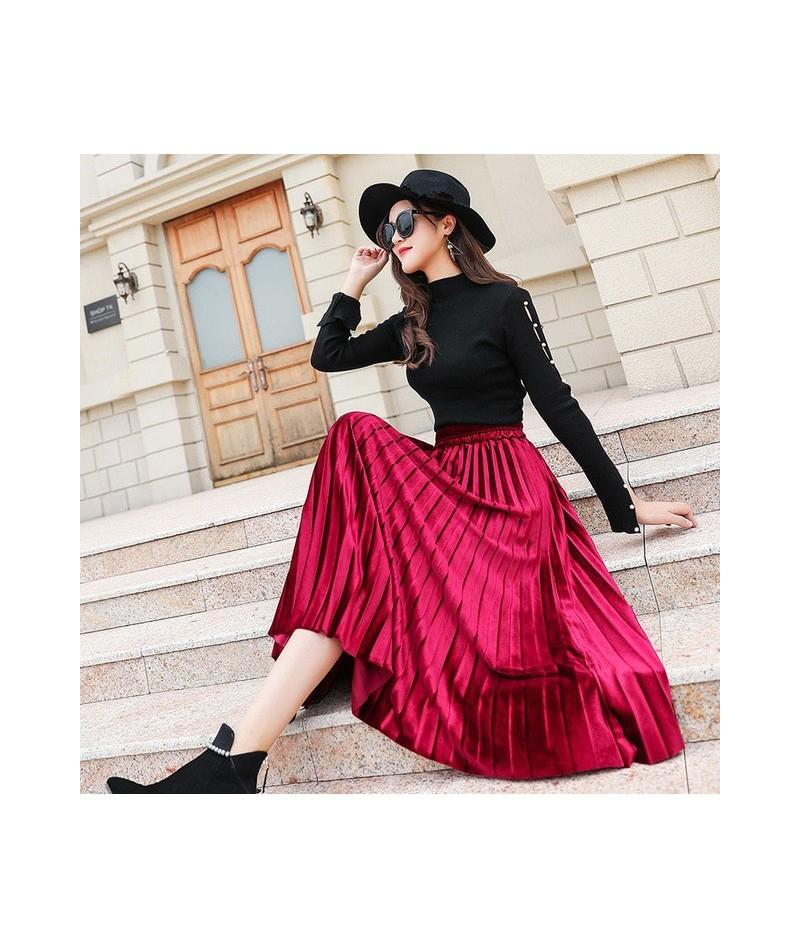 Fashion Velvet Pleated Skirts Women Plus Size 4XL Maxi High Waist Midi Skirt Streetwear Casual Elastic Waist Skirts Roupas Q...