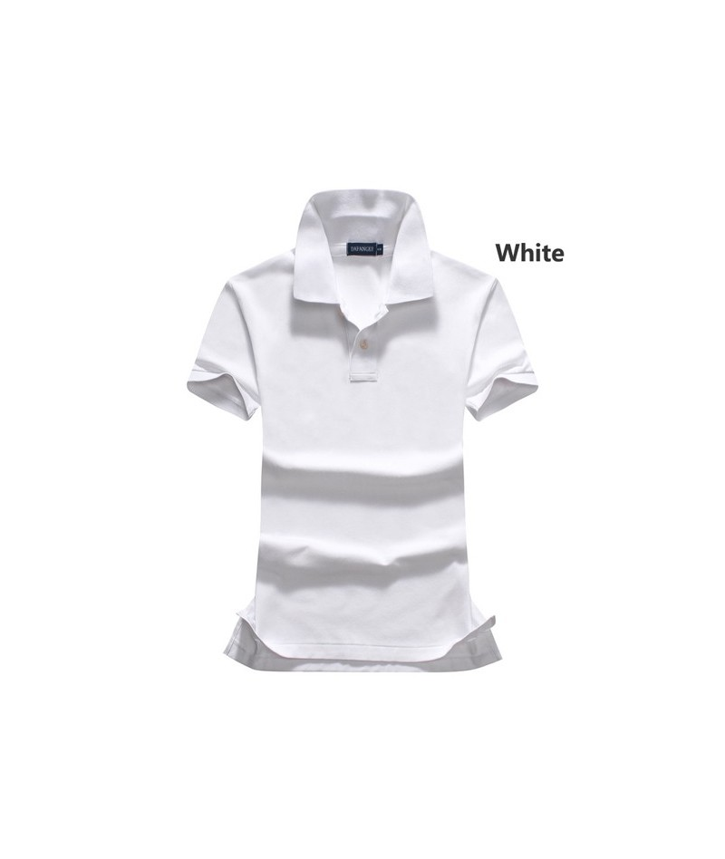 2018 Summer New style womens short sleeve polos shirts casual solid color cotton lapel polos shirts lady slim tops - White -...