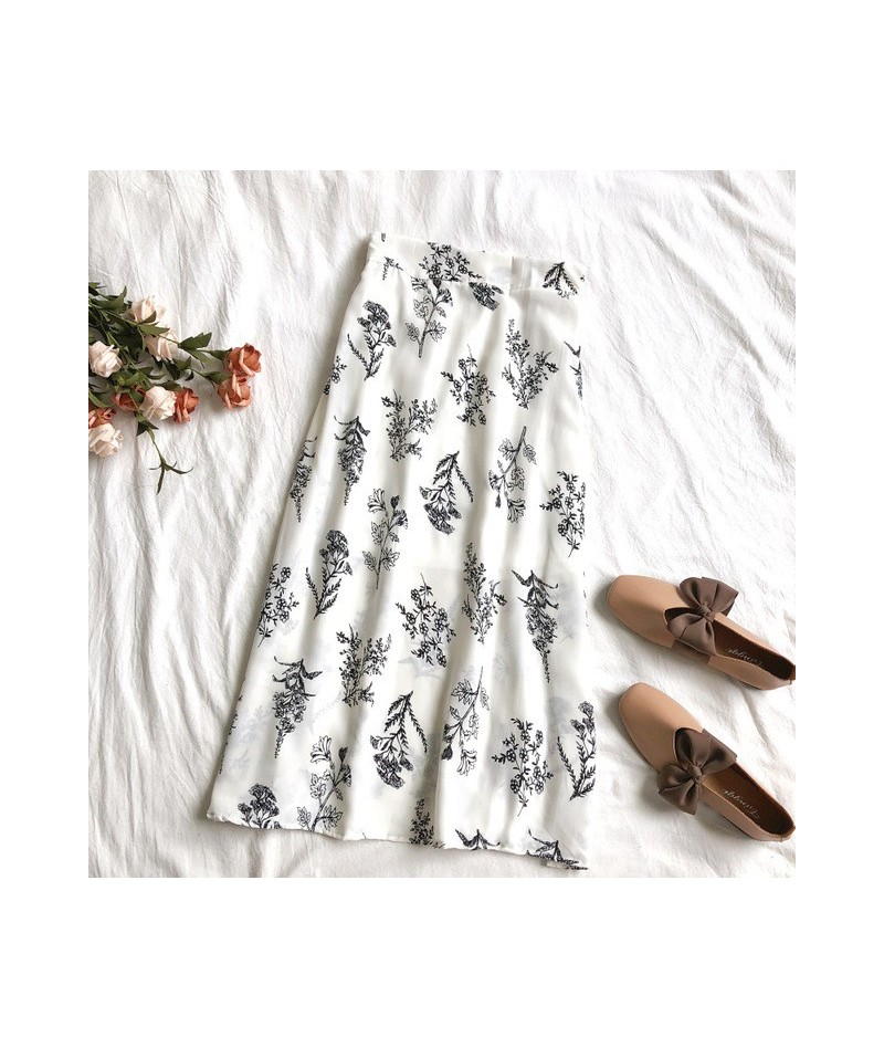 2019 Spring Summer Women High Waist Floral Chiffon Skirt Korean Fashion Skirt Faldas Mujer Moda 2019 - white background - 46...
