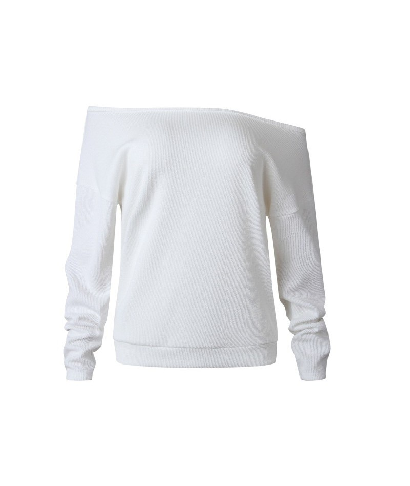 Solid Women's Autumn Knitwear 2018 Sexy Slash Neck Off Shoulder Loose Long-Sleeve Sweater Women's Casual White Tops - white ...