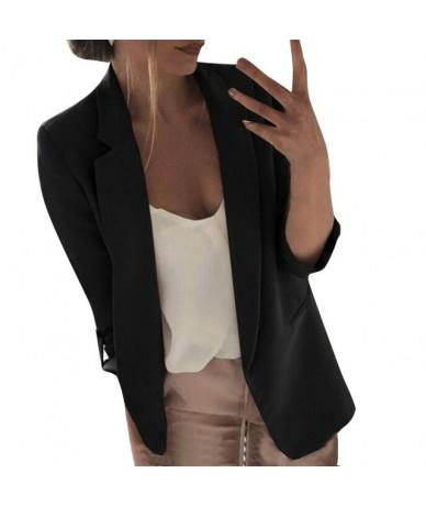2019 Fashion Women Casual Suit Coat Business Blazer Long Sleeve Jacket Outwear Ladies Black pink Slim Blazer Coat - Black - ...
