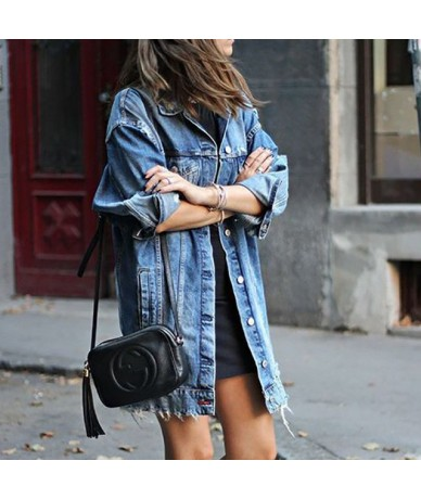 2019 Autumn Fashion Women Hole Denim Jacket Long Sleeve Stretch Ripped Jean Outerwear Casual Loose Plus Size Jean Basic Jack...