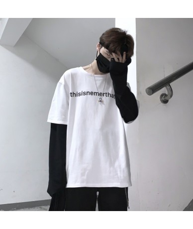 Patchwork Contrast Long Sleeve Graphic Letter Print Loose T Shirt T-Shirt Top Harajuku Streetwear Korean Pullover Autumn Win...