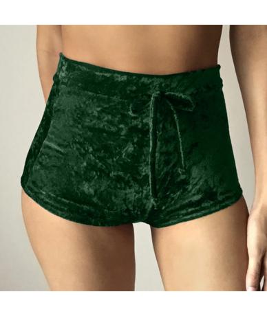 2018 Summer Women Golden Velvet Sexy Elastic Fold Shorts 9 Colors Fashion High Waist Lace Up Shorts Mini Skinny Joga Hot Sho...