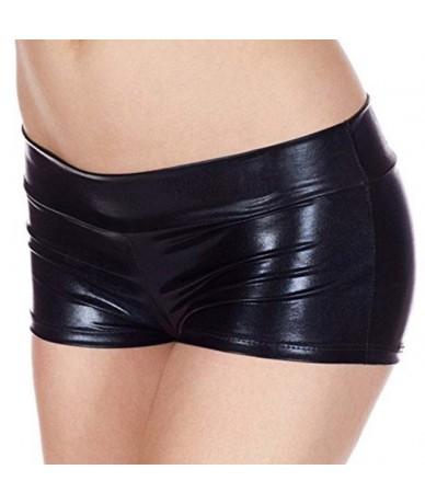 PU Women Summer Short Trouser Funny Imitation Leather Flat Angle Women Fashion Sexy Shorts - V - 5P111185375773-1
