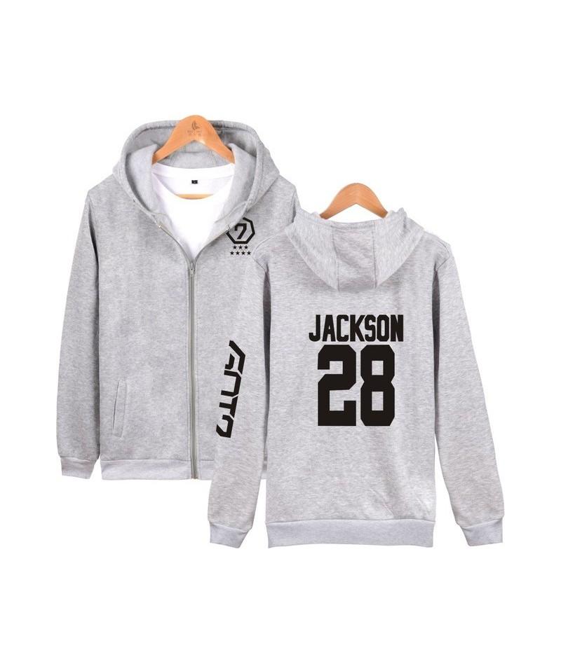 Kpop Got7 Member Name Fans Supportive Hoodies Women Harajuku Got7 Letter Print Couple Clothes Moletom Feminino 2017 - Gray J...